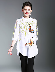 cheap -Women's Going out Vintage Puff Sleeve Shirt Animal Pattern / Oversized / Patchwork Shirt Collar / Winter / Print