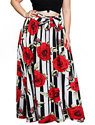 cheap -Women's Shopping Street Long Length Skirts,Vintage Street chic Swing Skirt & Dress Vintage Style Flora Style Striped Floral Vintage