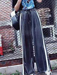 economico -Da donna Pantaloni Media elasticità Pantaloni della tuta Pantaloni,Tinta unita A strisce