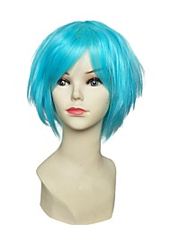 cheap -Synthetic Hair Wigs kinky straight Layered Haircut Carnival Wig Celebrity Wig Party Wig Natural Wigs Cosplay Wig Short Blue