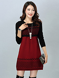 Women's Going out Tunic Dress,Patchwork Round Neck Above Knee Long Sleeves Polyester Winter Fall Mid Rise Micro-elastic Medium