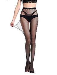 cheap -Women's Thin Pantyhose,Nylon Polka Dot Jacquard One-piece Suit Black