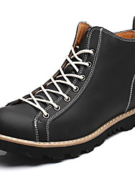 cheap -Men's Shoes Nappa Leather Winter Fall Combat Boots Bootie Boots Booties/Ankle Boots Lace-up for Casual Outdoor Black Coffee Brown