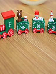 Недорогие -Рождественский декор Новогодние подарки Рождественские игрушки Поезд Новогодняя тематика Праздник Шлейф Для детской Снеговик деревянный Детские Взрослые Мальчики Девочки Игрушки Подарок 1 pcs