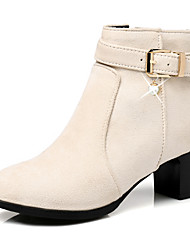 cheap -Women's Shoes Nubuck leather Winter Fall Fashion Boots Bootie Combat Boots Boots Round Toe Booties/Ankle Boots Imitation Pearl Buckle for