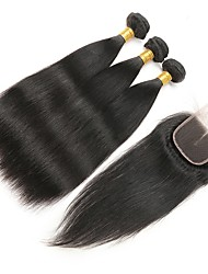 cheap -4 Pieces Natural Black Straight Remy Brazilian Human Hair Weaves Hair Extensions # Straight