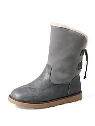 Недорогие -Жен. Обувь Бархатистая отделка Дерматин Зима Осень Зимние сапоги Модная обувь Меховая подкладка Ботинки На плоской подошве Круглый носок