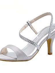 abordables -Femme Chaussures Soie Printemps / Eté Escarpin Basique Chaussures de mariage Talon Aiguille Bout rond / Bout ouvert Strass Blanc / Mariage / Soirée & Evénement