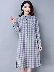 cheap -Women's Daily Going out Loose Shirt Dress,Houndstooth Shirt Collar Midi Long Sleeve Cotton Linen Spring Fall Mid Rise Inelastic Opaque