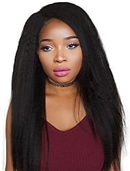 cheap -Remy Human Hair Lace Front Wig Chinese Hair kinky Straight With Baby Hair 130% Density 100% Virgin African American Wig Natural Hairline