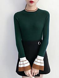 economico -Standard Pullover Da donna-Per uscire Tinta unita Rotonda Manica lunga Cotone Medio spessore Media elasticità