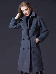 Dámské Jednobarevné Párty Běžné/Denní Jednoduchý Aktivní Kabát-Zima Vlna Polyester Nylon Košilový límec Dlouhý rukáv Dlouhé