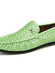 cheap -Men's Shoes PU All Season Comfort Loafers & Slip-Ons For Casual Light Green Light Grey Black