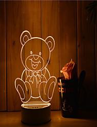 1 комплект 3d настроение ночной свет руки чувство dimmable usb питание подарок лампа медведь