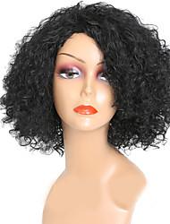 Недорогие -Парики из искусственных волос Кудрявый плотность Без шапочки-основы Жен. Черный Парики для вечеринки Парик из натуральных волос Парики