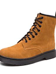 Feminino Sapatos Pele Real Borracha Inverno Outono Botas da Moda Forro de fluff Botas Botas Cano Médio Para Casual Preto Fúcsia Camel