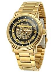 WINNER Herre Afslappet Ur Modeur Armbåndsur Automatisk Selv-optræk Hul Indgravering Rustfrit stål Bånd Vintage Afslappet Guld