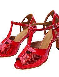 cheap -Women's Latin Shoes Leatherette / PU Sandal Customized Heel Customizable Dance Shoes Red / Indoor