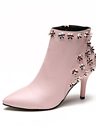 Women's Shoes PU Spring Fall Comfort Slouch Boots Heels Walking Shoes Stiletto Heel Round Toe Applique For Casual Black Pink