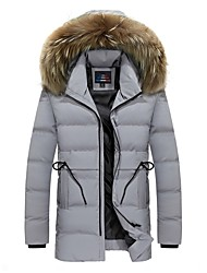 Men's Long Padded Coat,Casual Daily Going out Solid-Polyester Long Sleeve