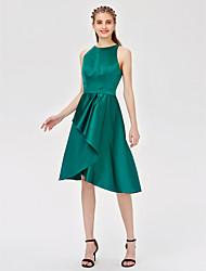 A-Line Princess Jewel Neck Asymmetrical Satin Bridesmaid Dress with Sash / Ribbon Pleats by LAN TING BRIDE®