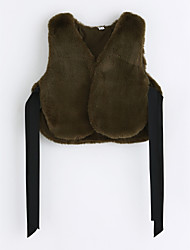 cheap -Girls' Solid Vest, Faux Fur Green