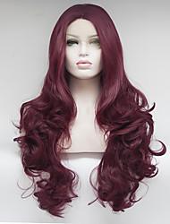 Недорогие -Синтетические кружевные передние парики Волнистый Искусственные волосы Красный Парик Жен. Средние / Длинные Лента спереди