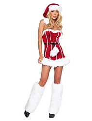 cheap -Santa Claus / Mrs.Claus Outfits Women's Christmas Festival / Holiday Halloween Costumes Red Solid Colored / Holiday