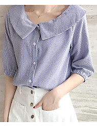 cheap -Women's Daily Wear Sexy Shirt,Solid Striped Shirt Collar Half Sleeves Cotton