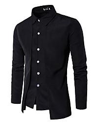 メンズ お出かけ カジュアル/普段着 シャツ,ストリートファッション シャツカラー ソリッド ポリエステル 長袖