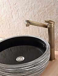 Античный Настольная установка Вращающийся Керамический клапан Одной ручкой одно отверстие Старая латунь , Ванная раковина кран