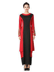 cheap -Women's Party Daily Vintage Street chic Sheath Swing Dress,Color Block Embroidered Round Neck Maxi Long Sleeve Cotton Linen Polyester