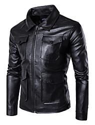 cheap -Men's Punk & Gothic Plus Size Leather Jacket - Solid