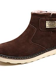 Недорогие -Муж. обувь Свиная кожа Дерматин Зима Осень Удобная обувь Ботинки Для прогулок Ботинки для Повседневные Черный Серый Коричневый