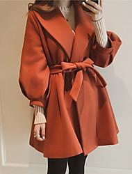 abordables -Mujer Noche Abrigo Escote en Pico - Un Color