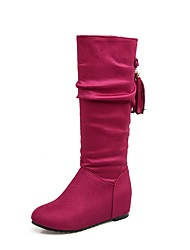 cheap -Women's Shoes Leatherette Fall Winter Fashion Boots Boots Round Toe Mid-Calf Boots Buckle For Casual Dress Blue Red Black