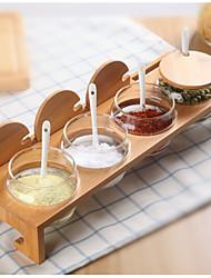 Недорогие -1set Кухня Бамбук Дерево Стекло Хранение продуктов питания