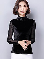 Недорогие -Для женщин На выход Рубашка Вырез под горло,Уличный стиль Однотонный Длинный рукав,100% полиэстер