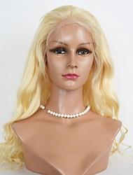 cheap -Women Human Hair Lace Wig Eurasian Human Hair Lace Front 130% Density Body Wave Wig Light Blonde Long