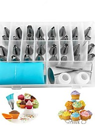 cheap -38pcs/set Russian Piping Pastry Bag Stainless Steel Nozzle Set Icing Piping Tubes Bakeware Cake Dessert