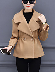 cheap -Women's Daily Simple Casual Winter Fall Coat,Solid Peaked Lapel Long Sleeves Short Wool Polyester