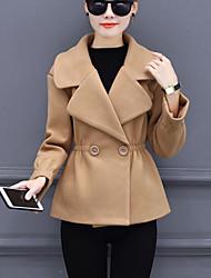 preiswerte -Damen Solide Einfach Lässig/Alltäglich Mantel,Steigendes Revers Herbst Winter Langarm Kurz Wolle Polyester