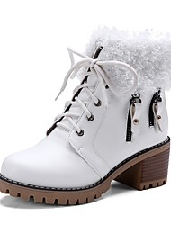 cheap -Women's Shoes Leatherette Fall Winter Fashion Boots Boots Round Toe Booties/Ankle Boots Buckle For Casual Dress Brown Black White