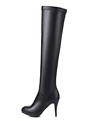 cheap -Women's Shoes Leatherette Winter Fashion Boots Fluff Lining Boots Round Toe Thigh-high Boots for Casual Party & Evening White Black