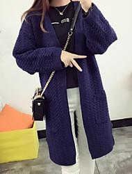 Lungo Cardigan Da donna-Casual Tinta unita A V scollato Manica lunga Cashmere Cotone Autunno Inverno Medio spessore Media elasticità
