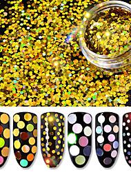 abordables -6 botellas / set láser lentejuelas holográficas 6 colores pack nail art glitter lentejuelas color mezclado mujeres decoración de uñas