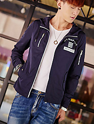 Men's Daily Going out Simple Casual Fall Jackets,Solid Hooded Long Sleeves Regular Cotton Acrylic Nylon