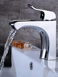 abordables -Moderne Set de centre Jet pluie Soupape céramique Mitigeur un trou Plaqué, Robinet lavabo
