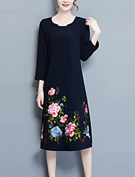 cheap -Women's Daily Loose Shift Dress,Solid Embroidered Round Neck Knee-length Long Sleeves Polyester Spring/Fall Mid Rise Inelastic Medium