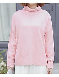 Standard Pullover Da donna-Casual Tinta unita Dolcevita Manica lunga Nylon Inverno Autunno Medio spessore strenchy